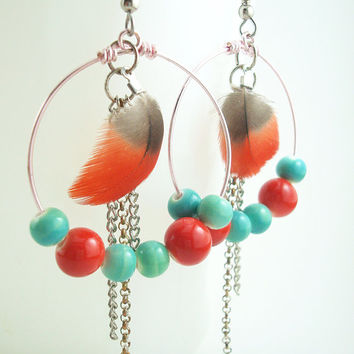 Big Hoop Earring - Small Red Feather Colorful Beads - Handmade Jewelry