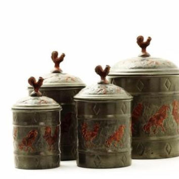 Canister Set Rooster Rustic Country Primitive Farmhouse 4 Pce Steel Handcrafted