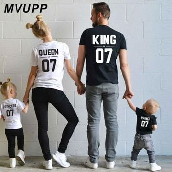 Cool Family Look Dad Mom Kid matching outfits mommy and me clothes mother daughter dresses Fashion T-Shits King Queen prince princessAT_93_12
