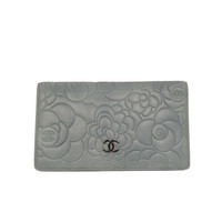 CHANEL Blue Leather Camelia Yen Open Wallet