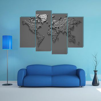 Origami 3D World Map Multi Panel Canvas Wall Art