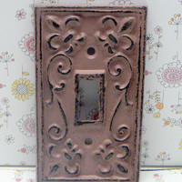 Fleur de lis Cast Iron FDL Light Switch Plate Cover Single Wall Shabby Chic Distressed Rustic French Decor Dusty Rose Blush