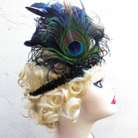 Sequin Flapper Headband, Unique Art Deco Headband,Peacock Feather Fascinator, Head Piece, Batcakes Couture