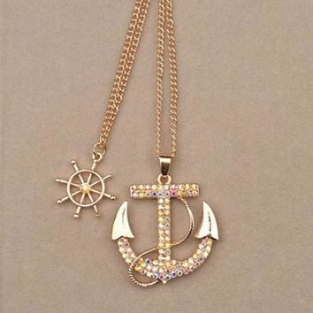 """Gold Anchor Pendant Necklace for Women with 28"""" Chain"""