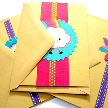 Cards Any Occasion Yellow, Purple, Green, Pink, set of 3