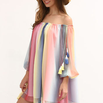 Multicolor Print Off The Shoulder Tassel Shift Dress [6259170180]