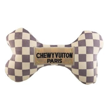 Chewy Vuiton Checker Dog Plush Toy
