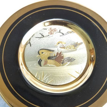 Vintage Chokin Duck Plate, Black Silver Gold Bird Plate, Japanese Bird Plate, 24K Gold Gild Chokin Bird Collector's Plate, Etched Japanese