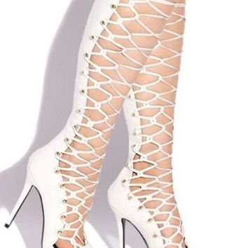 Open Toe Strap Cross Knee High Gladiator High Heel Sandals Boots