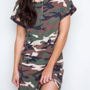 Streetstyle  Casual Army Green Camouflage Round Neck Short Sleeve Mini Dress
