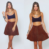 Vintage 70s SUEDE Mini Skirt Brown Leather PATCHWORK Festival Mini Skirt Boho Skirt Hippie Skirt