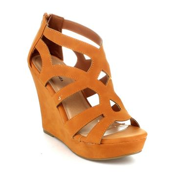 Top Moda Womens Ella-15 Fashion Wedge Sandals,10 B(M) US,Tan