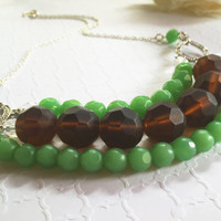 Light Green Necklace - Three Tier Bib Necklace - Green And Brown Layered Necklace - Green Bib Necklace - Statement Necklace
