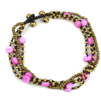 Many Moons Anklet: Pink - Thailand
