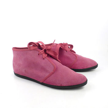 Keds Ankle Boots Vintage 1980s Lace Up Flat Granny Pink Suede Booties Women's size 7 1/2