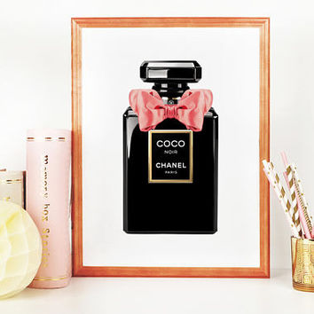 COCO CHANEL PERFUME, Fashion Wall Art,Chanel Inspired,Fashion Print,Fashionista,Makeup Print,Girls Room Decor,Pink Bow,Perfume Bootle,Art