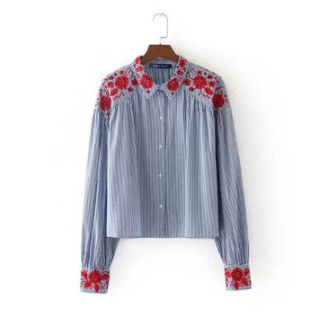 Floral Embroidery Long Sleeve Women Shirts 2017 Autumn New Fashion Joker Striped Chiifon Shirt Cotton Western Style Female Top