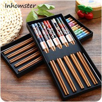 5 Pairs Japanese Style Bamboo Chopsticks Sushi Food Chopsticks Chinese Style Printing Patterns Chopsticks Food Sticks