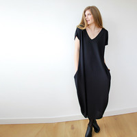 Black Maxi Knitted dress with short sleeves SALE