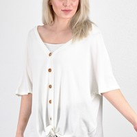 Oversized Button & Tie Front Short Sleeve Thermal {Off White}