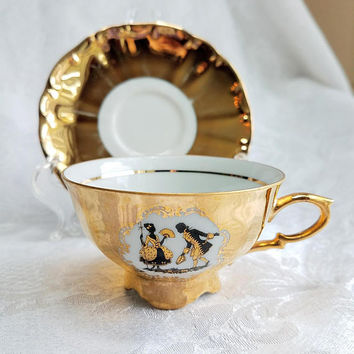 Vintage Bareuther Waldsassen Gold cup and Saucer, Victorian Couple Tea Party Demitasse, Bavarian Gold Tea Cup, Gold Gild Shabby Chic