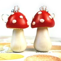 Red & White Toadstool Mushroom Dangle Earrings - Amanita Fly Agaric - Whimsical Woodland Fairy Tale