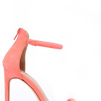 Do the Tango Neon Coral Suede Ankle Strap Heels