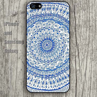 Mandara blue flowers colorful iphone 6 6 plus iPhone 5 5S 5C case Samsung S3, S4,S5 case, Ipod touch Silicone Rubber Case, Phone cover