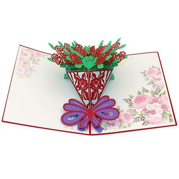Valentine's Day present 3D Pop Up Cards Valentine Lover Happy Birthday Anniversary Greeting Cards