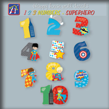 123 numbers Superhero wall decals - 123 numbers decals - Superhero stickers - Kids room decor - Bedroom Nursery Playroom Decor