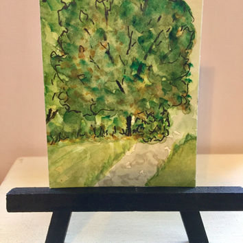 Green trees ACEO original watercolor design, artist trading card, ATC,  landscspe mini painting, great gift, not a print
