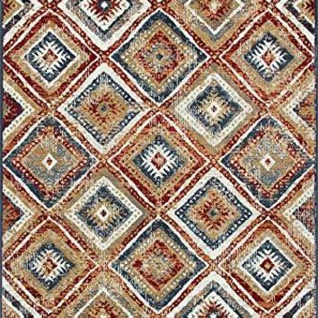2109 Multi Color Abstract Distressed Contemporary Area Rugs