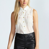 Corinna Georgette And Lace Sleeveless Blouse