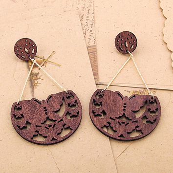 Butterfly Wooden Drop Dangle Earrings