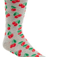 Men's Topman Cherry Pattern Socks - Grey