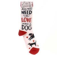 Novelty Socks ALL YOU NEED IS LOVE AND A DOG Fabric Sock Womens Puppy 34678
