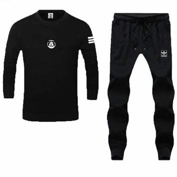"Fashion ""Adidas"" Print Long sleeve Top Long Pants Sweatpants Set Two-Piece Sportswear Couple Set I-PSXY"