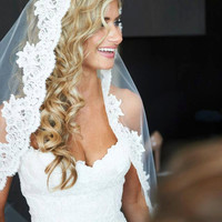 Wedding Veil - Cathedral Length Mantilla with Vintage French Alencon Lace
