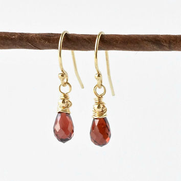 Tiny Garnet Earrings / Garnet Gold Earrings / Wire Wrapped Gemstone Earrings / Garnet Briolette Earrings / January Birthstone Jewelry