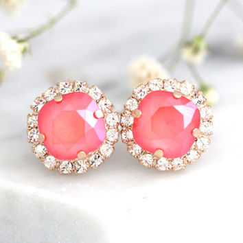 Coral Earrings, Bridal Coral Earrings, Peach Studs, Swarovski Crystal Coral Earrings, Bridesmaids Coral Earrings, Gift For her