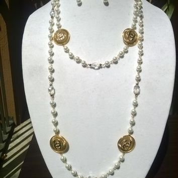 "Beautiful 60"" Designer Inspired Pearl & Crystal Necklace Set"
