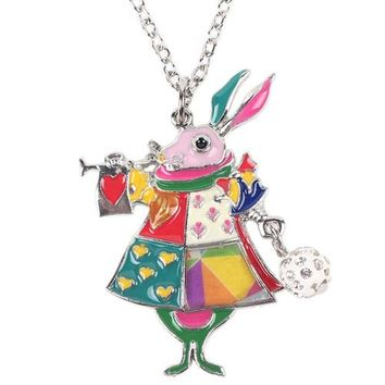 Newei Mouse Necklace Enamel Rabbit Pendant Zinc Alloy Plate New Fashion Jewelry For Women Statement Collar Accessories