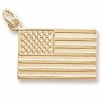 American Flag Charm In Yellow Gold