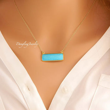 Turquoise Bar Necklace, Gold Turquoise Necklace, Rectangle Gemstone Necklace, Delicate Gold Chain Necklace,