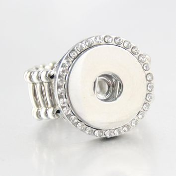 Vintage Crystal DIY elastic adjustable snaps ring fit 18mm metal  snap buttons  R267women's fashion jewelry  Men's ring