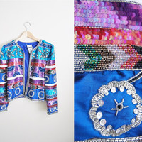 The Party Mix - Vintage 80s Sequin Beaded Glitter Jacket Top NYE TROPHY