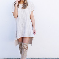 Chunky Hi-Low Sweater Dress {Beige}