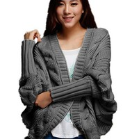 Groupup Women Thick Loose Asym Hem Batwing Cable Knit oversized Cardigan Sweater (Dark Gray)