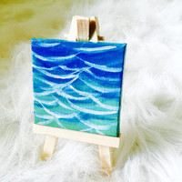 Abstract Sea Ocean Waves Painting in Acrylic on Miniature Canvas