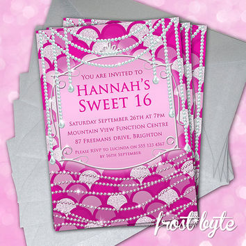 Pink Sweet 16 Invitations - Princess pearls & diamonds design - customised with your details - digital file to print yourself - birthday